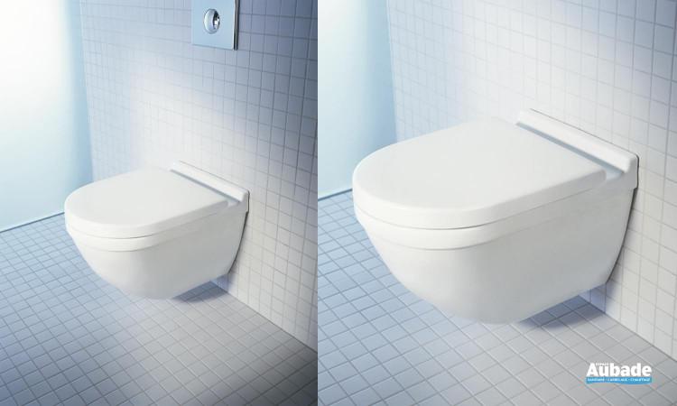 WC équipé d'une cuvette suspendue Starck 3 avec ou sans abattant Softclose de Duravit