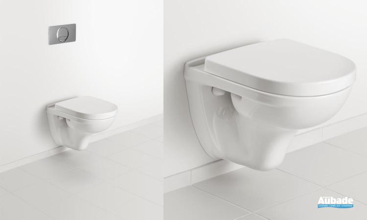 Ensemble WC avec cuvette suspendue et à fond creux O.novo Compact de Villeroy & Boch