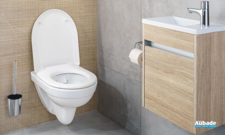 Pack wc suspendu sans bride avec abattant à recouvrement clivia de vigour