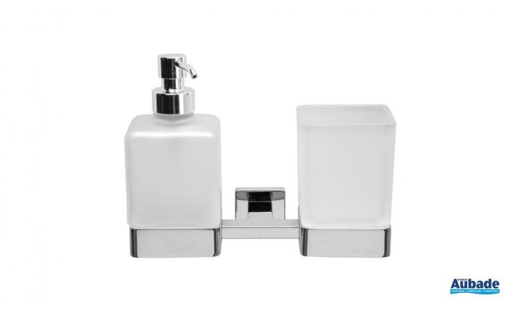 Porte-verre et distributeur de savon chromé à fixer Cubo par Inda