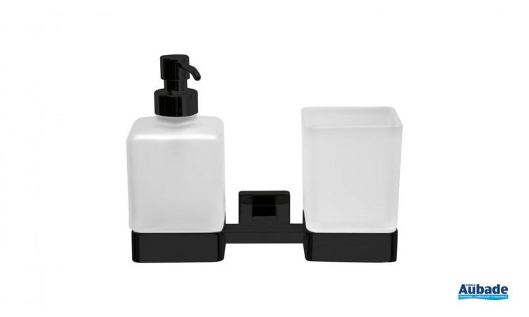 Porte-verre et distributeur de savon noir mat à fixer Cubo par Inda