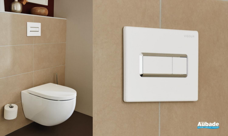 Plaque de commande wc suspendu Square de la gamme Derby Style par Vigour coloris blanc et chromé
