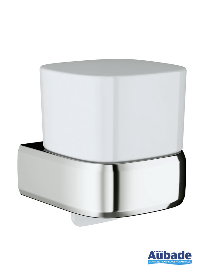 Distributeur de savon liquide à fixer au mur Derby Style finition chromé et verre satiné par Vigour