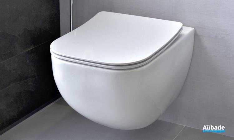 Cuvette wc suspendue et compacte avec abattant slim Derby Style en céramique par Vigour