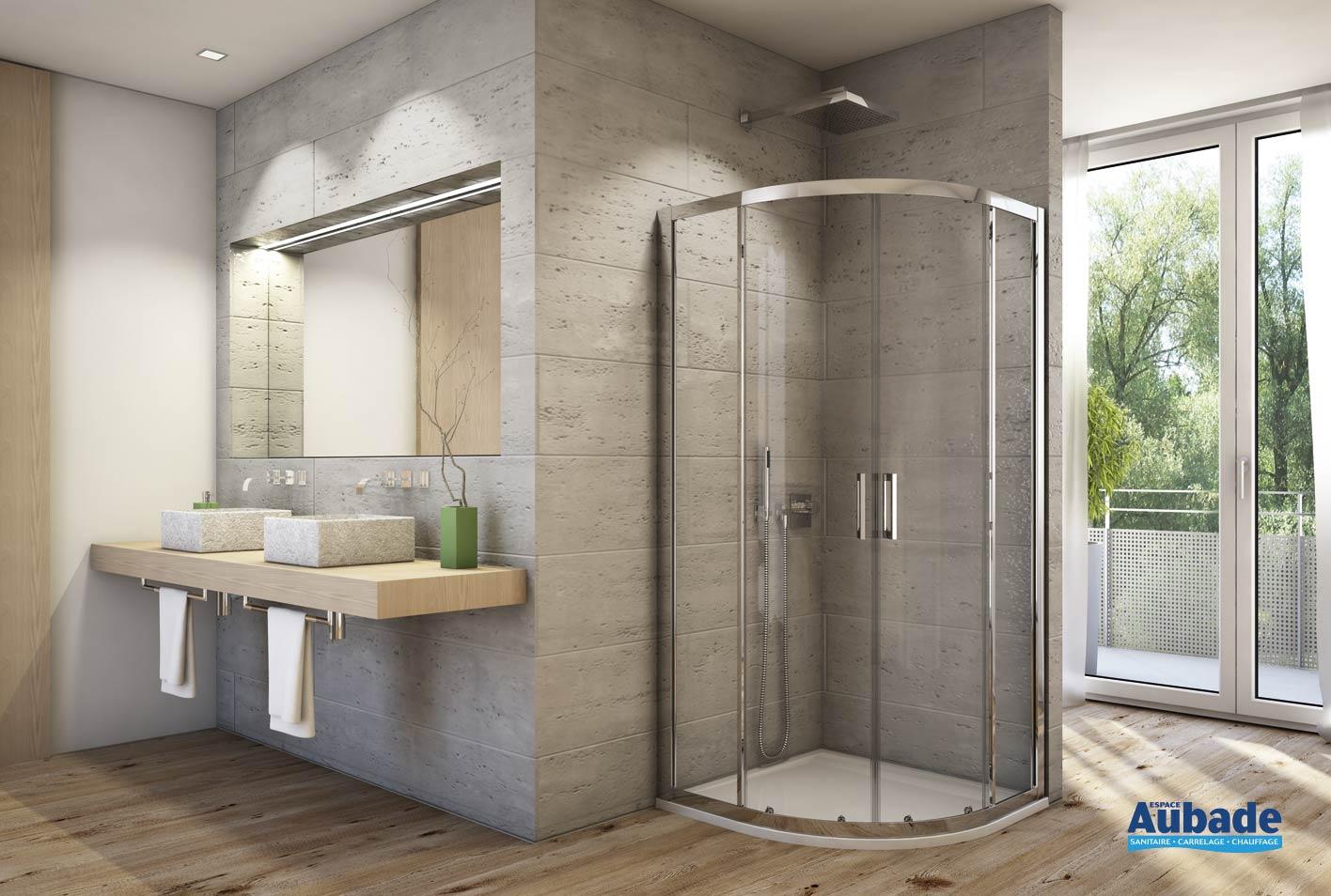paroi de douche d 39 angle arrondie sanswiss topr espace aubade. Black Bedroom Furniture Sets. Home Design Ideas
