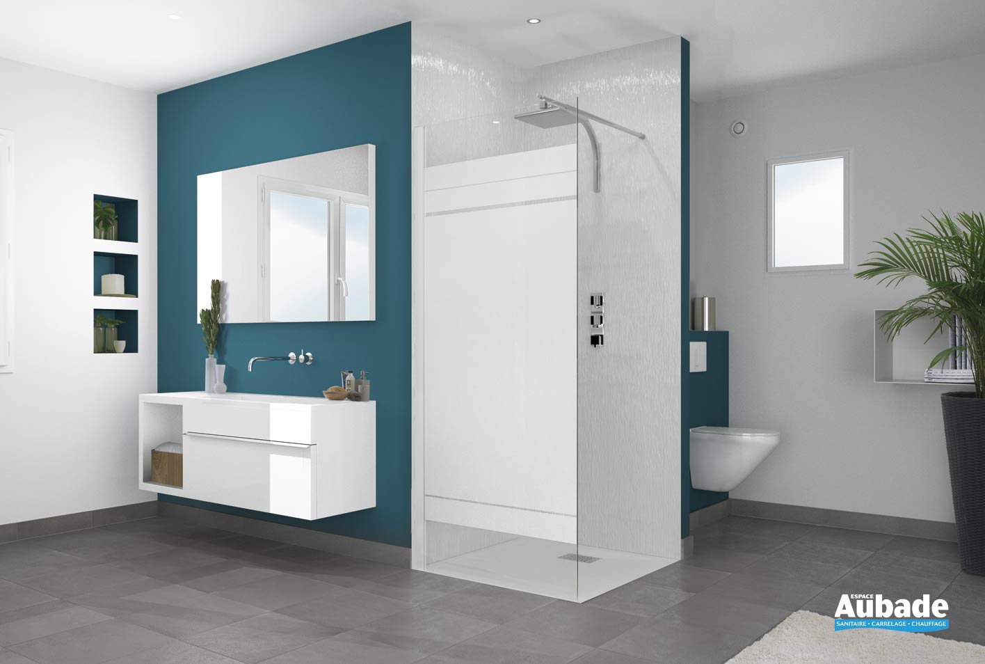 paroi de douche ouverte kinedo smart solo espace aubade. Black Bedroom Furniture Sets. Home Design Ideas