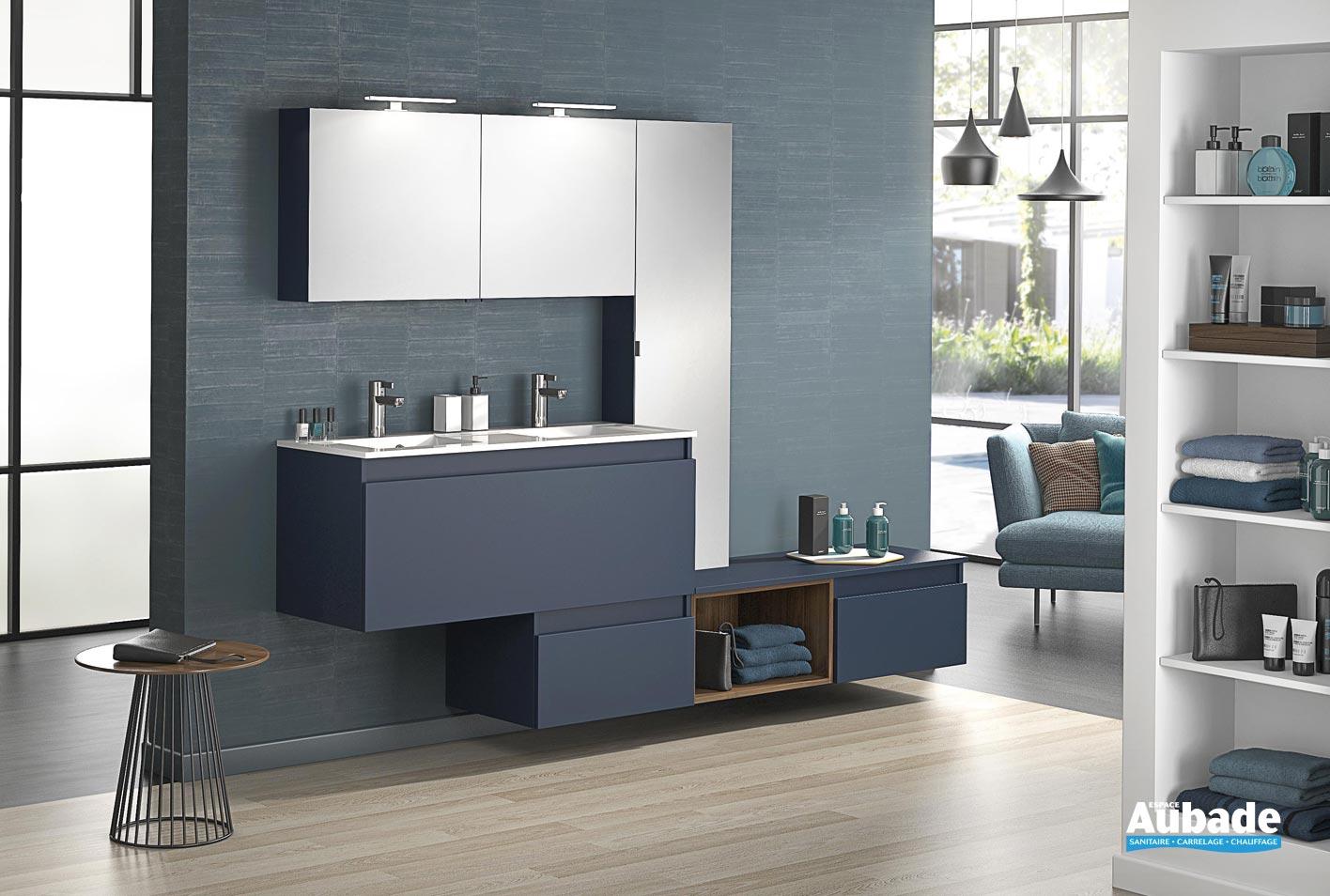 Meuble double vasque avec 20 coulissant D-Motion L. 2020 cm sur ensemble L.  20 cm Bleu de minuit mat par Delpha