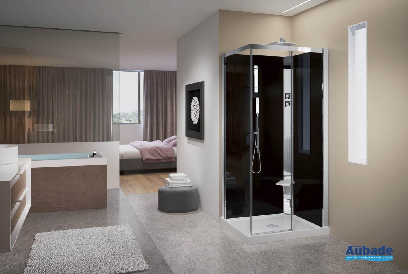 cabine de douche intégrale en verre crystal a100x80