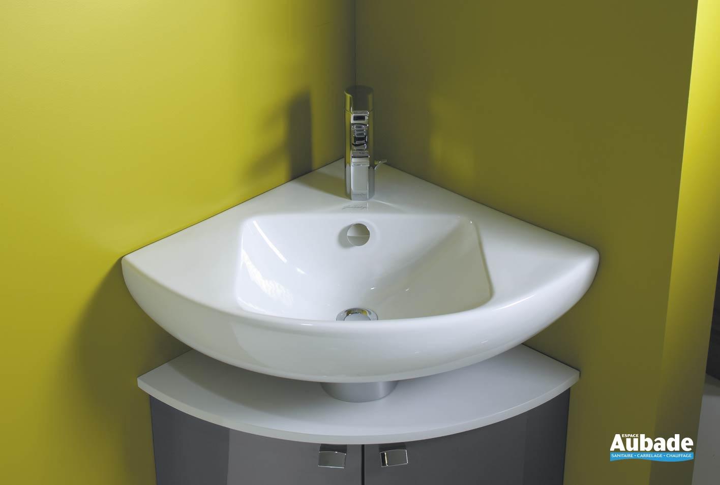 Vasque D Angle De Salle De Bain lavabo d'angle blanc sur meuble bas odéon up | espace aubade