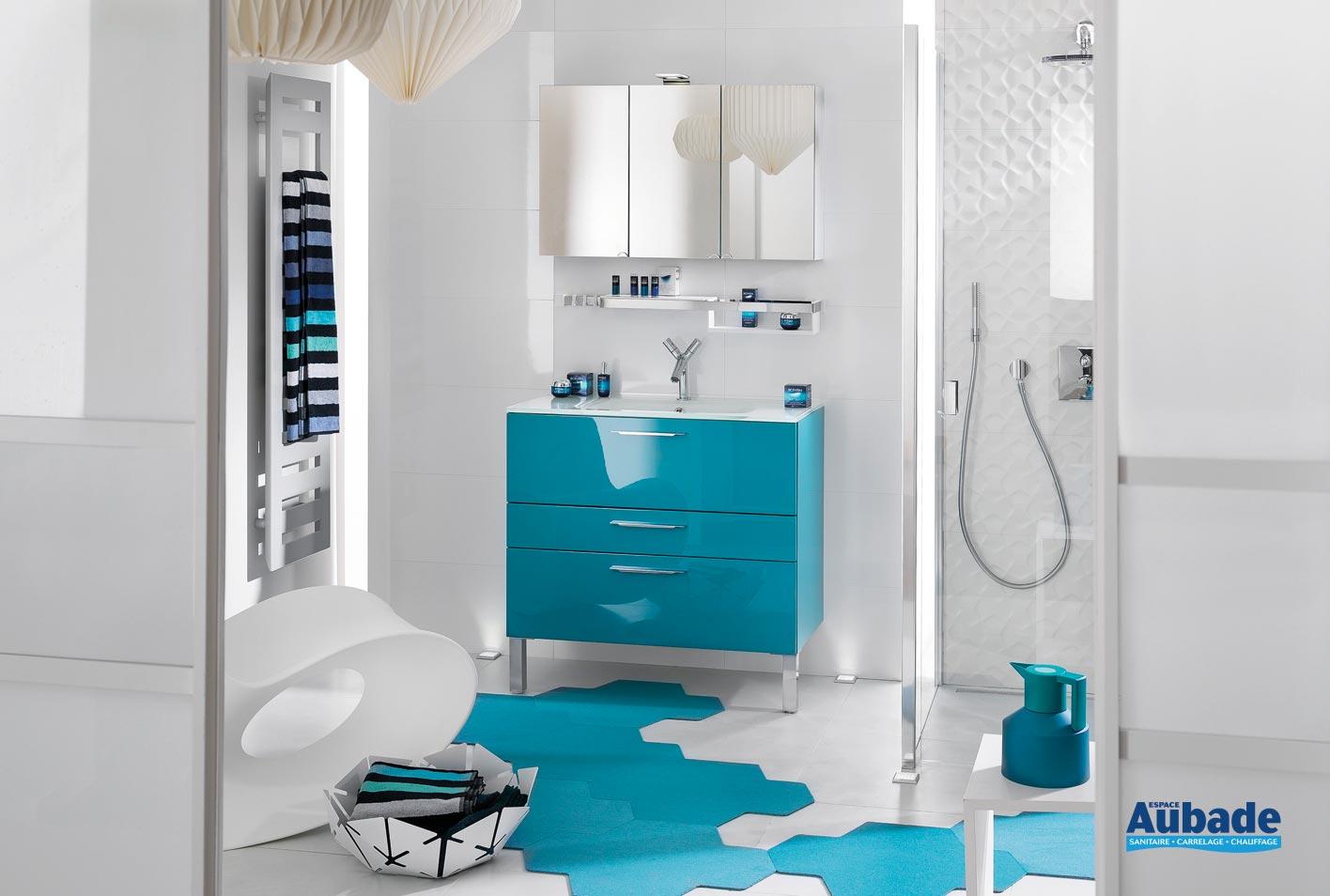 Salle De Bain Chocolat Turquoise meubles salle de bains bleu delpha unique 90 | espace aubade