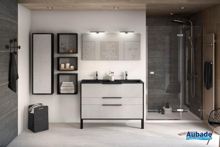 Meuble 2 coulissants et 1 tiroir sur pieds Ultra Cadra largeur 120 coloris façade Tissé gris structuré et corps de meuble Noir mat de Delpha
