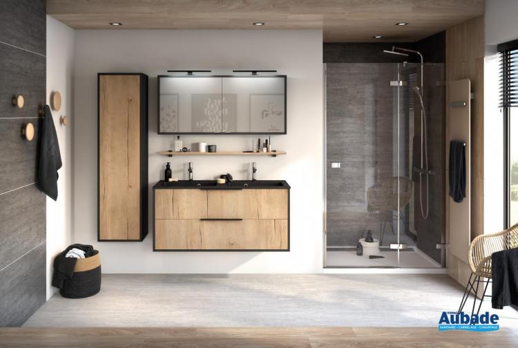 Meuble 2 coulissants Ultra Cadra largeur 120 cm coloris Chêne brut structuré et corps de meuble Noir mat de la marque Delpha