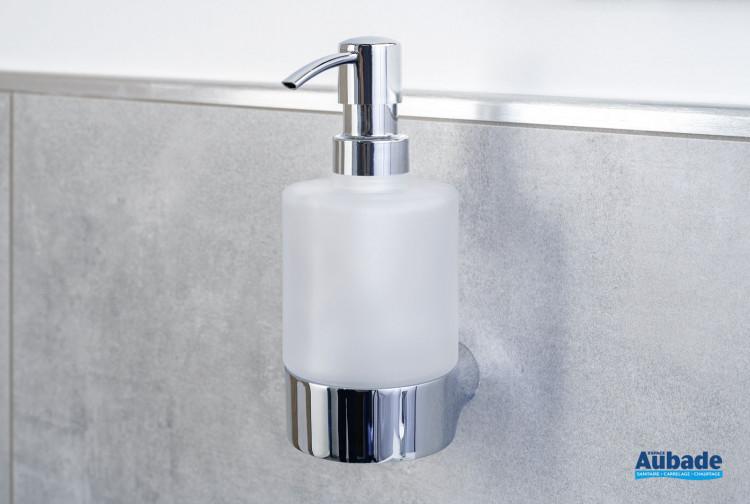 Porte-distributeur de savon chromé et verre satiné à fixer Clivia par Vigour