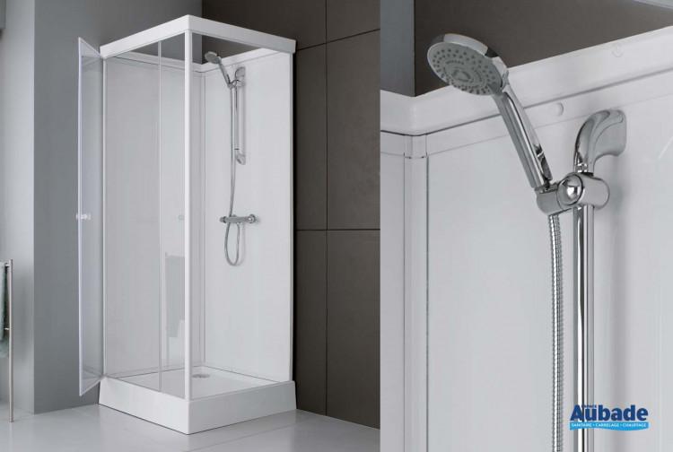 cabine de douche intégrale en verre leda 80 x 80 cm | espace aubade