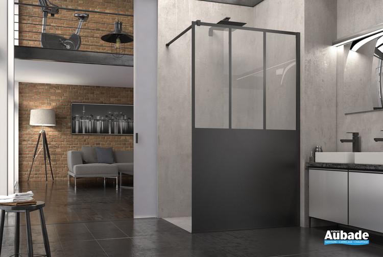 Paroi de douche fixe walk-in Atelier Noir mat de la marque SanSwiss