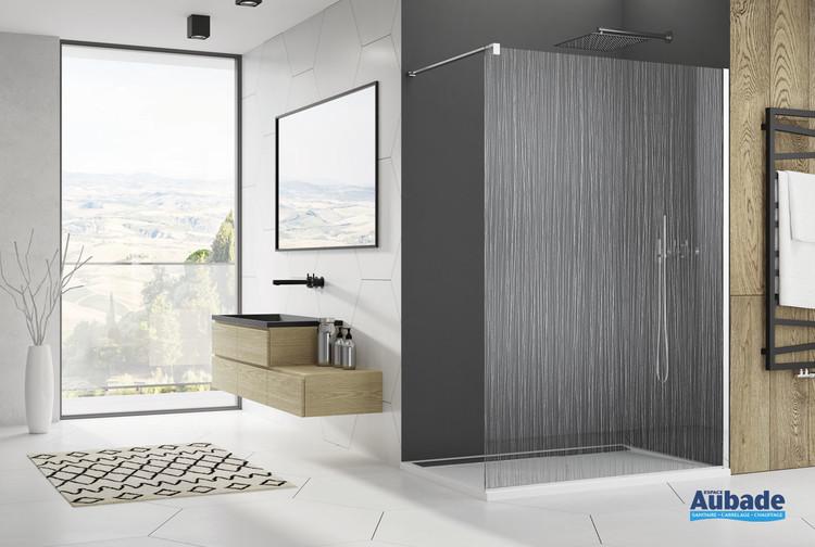 Paroi de douche fixe sérigraphiée chromé Fil d'eau de la marque SanSwiss