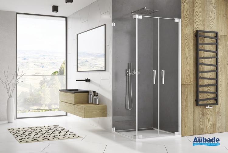 Paroi avec portes battantes Ophalys finition profilé poli brillant et verre transparent