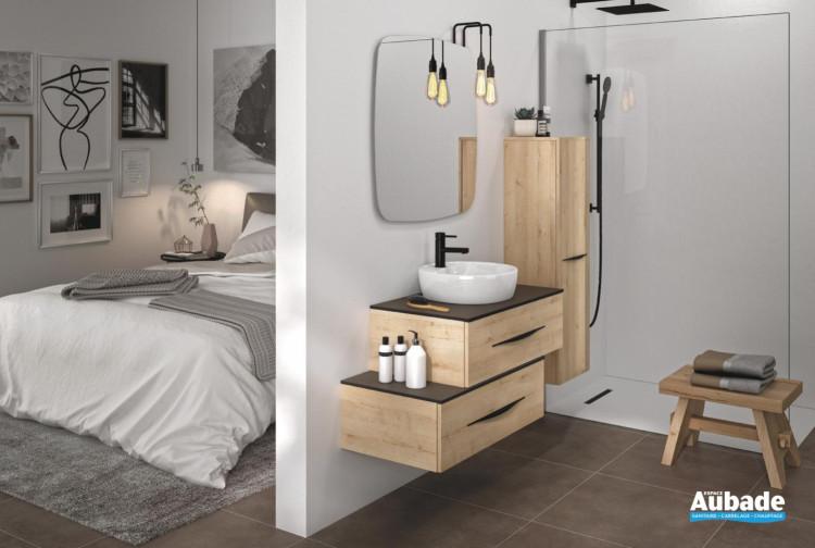 meuble salle de bain decotec bento 3-0 chene vanille
