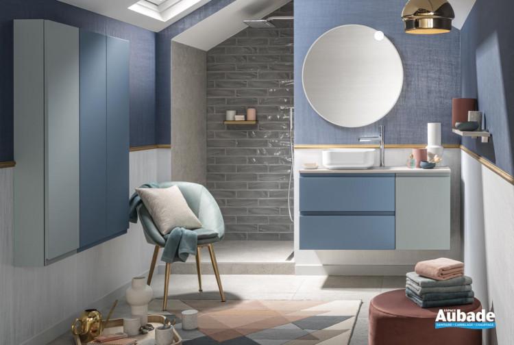 meuble salle de bain delpha unique velours bleu horizon vert aloe mat