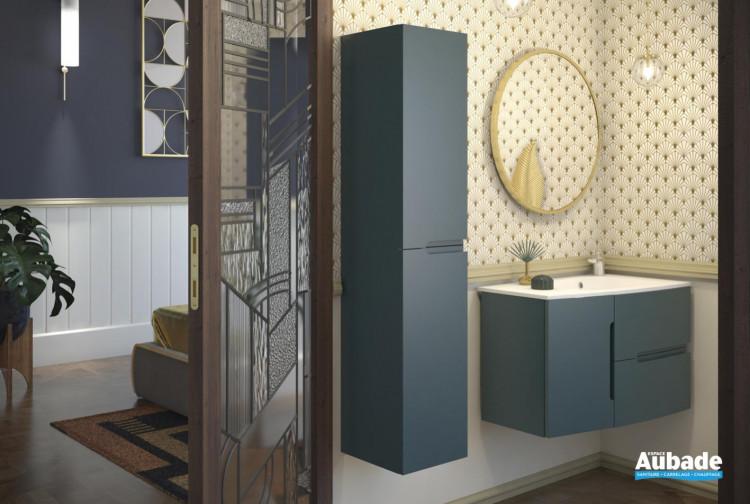 meuble salle de bain sanijura nona bleu canard satine