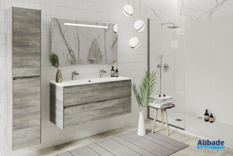 Meubles vasque pour salle de bain Elyps de la marque Ambiance Bain coloris Deauville et plan Blanc brillant