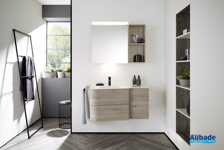 Meuble de salle de bain Badu finition thermoformé Chêne, décor Flanelle de Burgbad