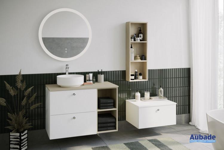 Meuble de salle de bain Mix and Match coloris Blanc mat et décor chêne cachemire de la marque Burgbad
