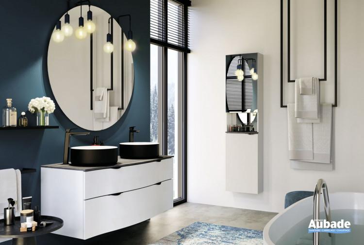 Meuble double vasque Stiletto plan zébrano et meuble laqué blanc mat par Decotec