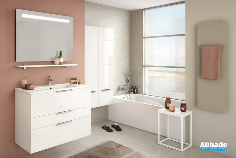 Meuble de salle de bains Delphy Graphic 91 Blanc Brillant de Delpha