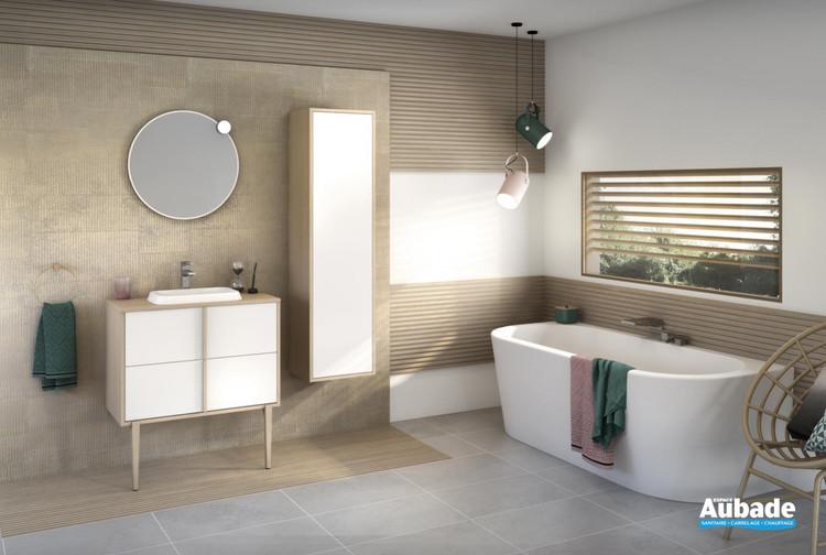 Meuble largeur 80 centimètres avec 2 coulissants Evasion coloris Blanc brillant et corps de meuble décor chêne doré structuré par Delpha