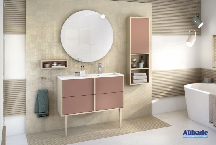 meuble salle de bains delpha evasion largeur 100 terracotta mat chene dore structure