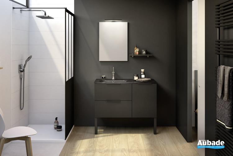 Meuble de salle de bains 2 coulissants et 1 porte Kami coloris noir verni mat par Delpha