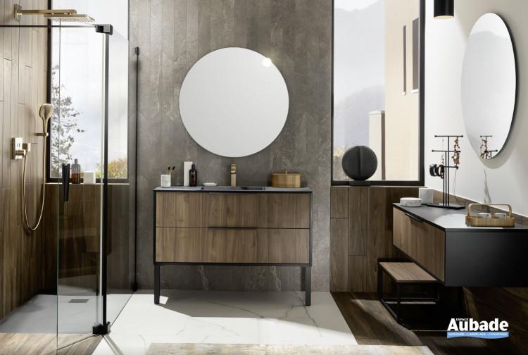 meuble salle de bains delpha ultra cadra largeur 120 noyer brun noir mat
