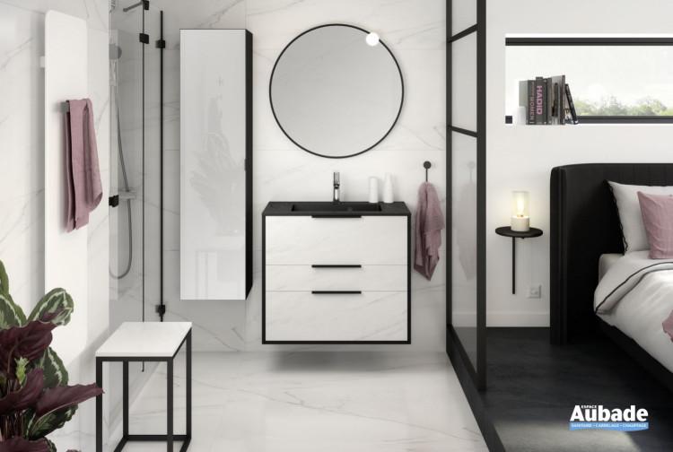 meuble salle de bains delpha ultra cadra largeur 80 marbre blanc noir mat-