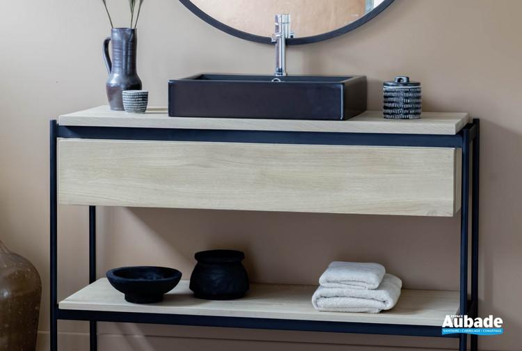 Meuble de salle de bains Blackline 1 tiroir et 1 étagère en chêne huilé naturel de Line Art