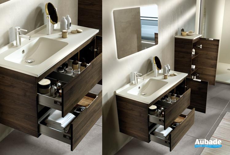 Meubles de salle de bains 2 tiroirs et 1 porte Rialto coloris teak et plan ivory de Ambiance Bain