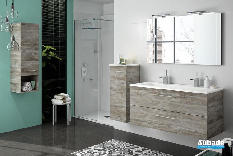 Meuble vasque 2 tiroirs Vita coloris bosco avec plan non percé de la marque Ambiance Bain