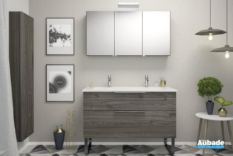 Meubles de salle de bains Passion coloris châtaigne avec chant et poignée platine de la marque Burgbad