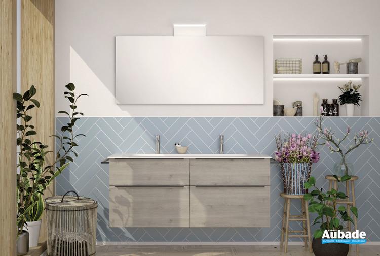 Meuble de salle de bains Style 2 avec 2 niveaux coloris chêne flanelle de la marque Burgbad
