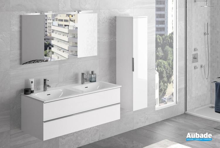 Meuble sous plan double vasque avec 2 tiroirs Chiara coloris blanc brillant par Cedam