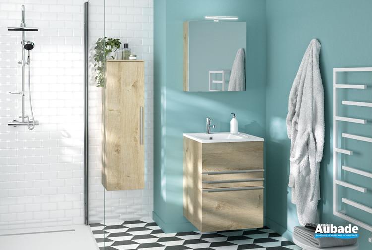 Meuble vasque 3 tiroirs Filou coloris mélaminé chêne vanille de la marque Decotec