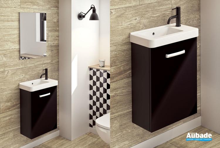 Meuble lave-mains Tic Tac coloris noir extra mat de la marque Decotec