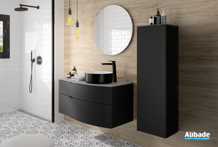 Meuble de salle de bains Stiletto coloris plan zébrano gris et façade laquée noir mat par Decotec