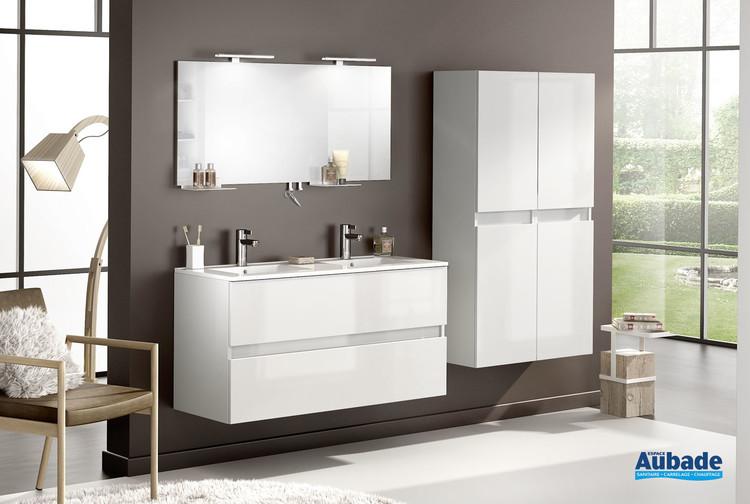 Meuble de salle de bains avec double vasque largeur 120 centimètres D Motion finition Blanc brillant par Delpha