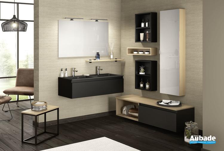 Meuble double vasque effet pierre D Motion avec 1 coulissant largeur 120 finition Noir verni mat de la marque Delpha