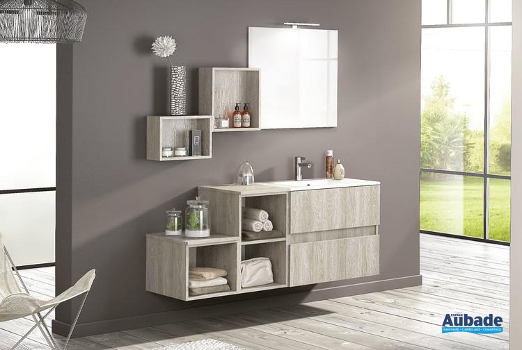 Meuble de salle de bains 2 coulissants D-Motion L. 80 cm finition Épicéa gris structuré de la marque Delpha