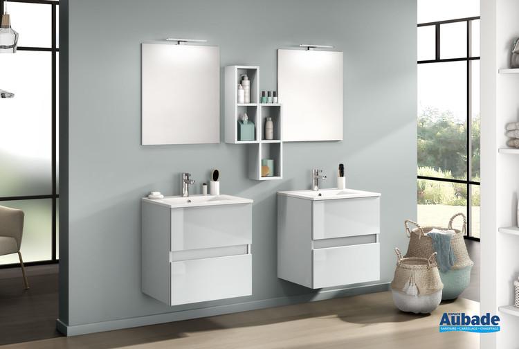 Meuble de salle de bain D-Motion avec 2 coulissants en largeur 60 centimètres finition Gris nuage brillant de la marque Delpha