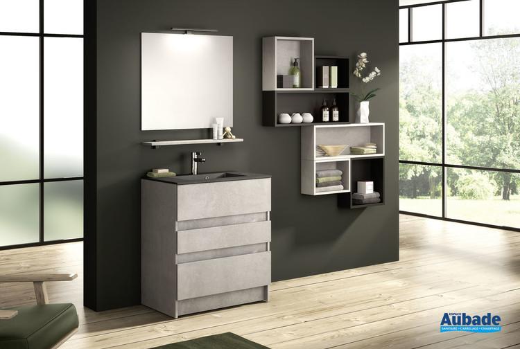 Meuble de salle de bains avec 2 coulissants et 1 tiroir D-Motion largeur 80 cm coloris Béton foncé structuré de Delpha