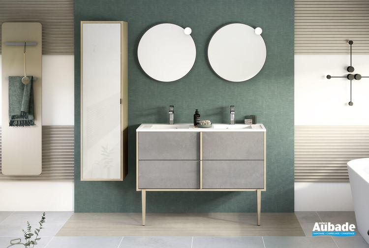 Meuble avec plan double vasque largeur 120 centimètres Evasion coloris Béton foncé structuré et décor chêne doré structuré de Delpha