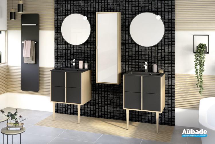 Meuble largeur 60 centimètres avec 2 coulissants Evasion coloris Noir mat et corps de meuble décor chêne doré structuré par Delpha